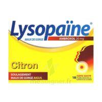 LYSOPAÏNE AMBROXOL 20 mg Pastilles maux de gorge sans sucre citron Plq/18 à VILLEFONTAINE