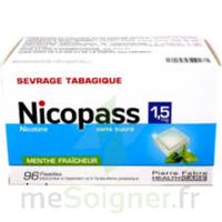 Nicopass 1,5 mg Pastille sans sucre menthe fraîcheur Plq/96 à VILLEFONTAINE